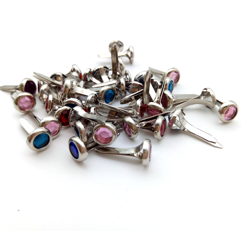 50pcs 8mm Mixed Color Round Crystal Metal Brads Diamond Embellishment For Diy Scrapbooking Paper