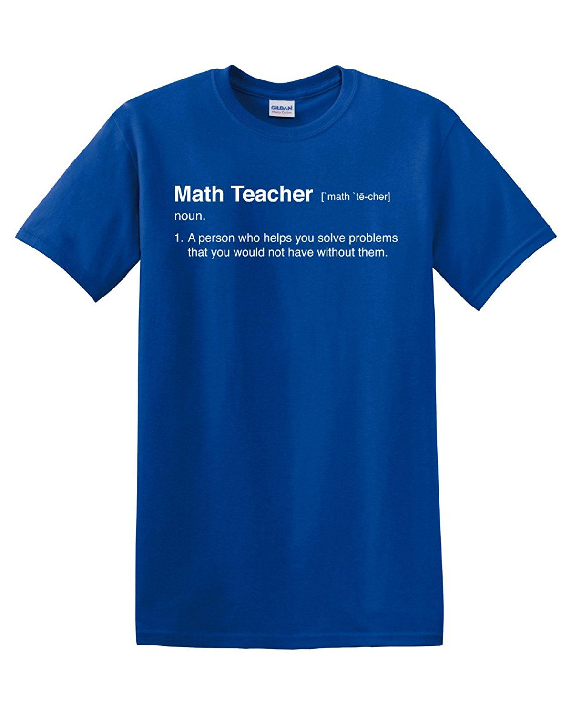 Math Teacher Definition Calculus Algebra Geometry Pi Mathematics Mens Adult Graphic Tee T-Shirt Apperal Funny Humor Pun Blue