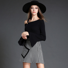 womens sweater suits Autumn Flare Sleeve inclined off shoulder Tops+ Striped knitted Short Skirts sets Twinset Clothing OM805