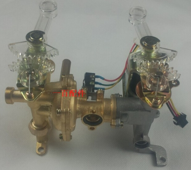 ФОТО 8L or 10 L Double shaking Gas water heater parts brass assembly valve connect to water and gas