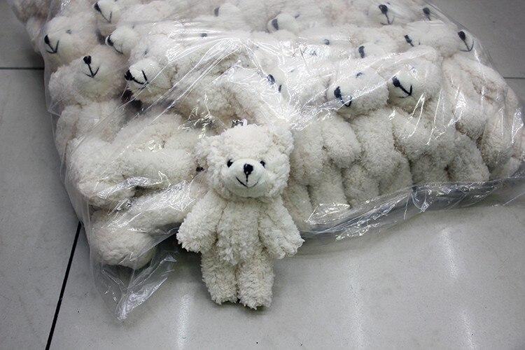 1pcs/ Mini Joint Teddy Bear plush toys chain white gummy bears 12cm animal for Wedding peluches bicho ursinho de pelucia