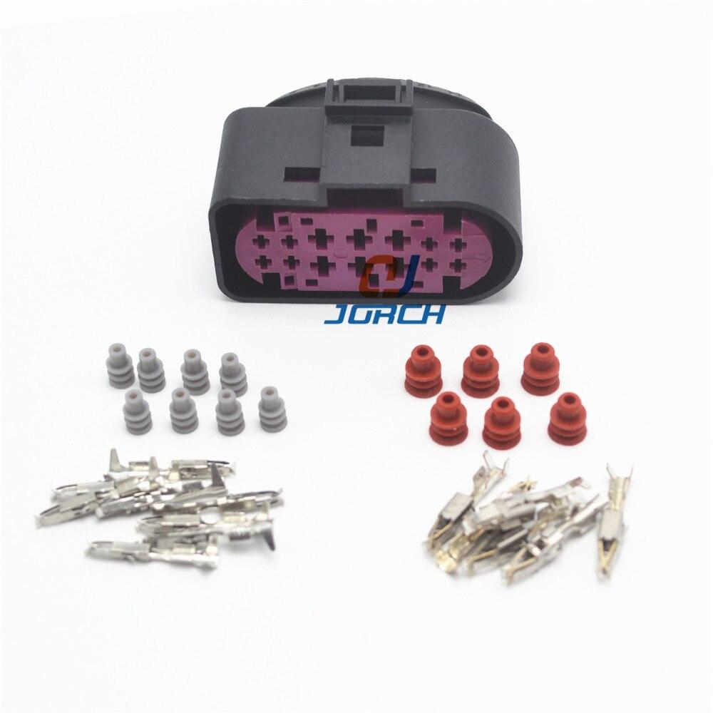 Free Shipping 2sets 14pin 1.5mm 3.5mm Xenon Headlights Plug 1J0973737 Waterproof Lamp-socket Wire Connector 1J0 973 737