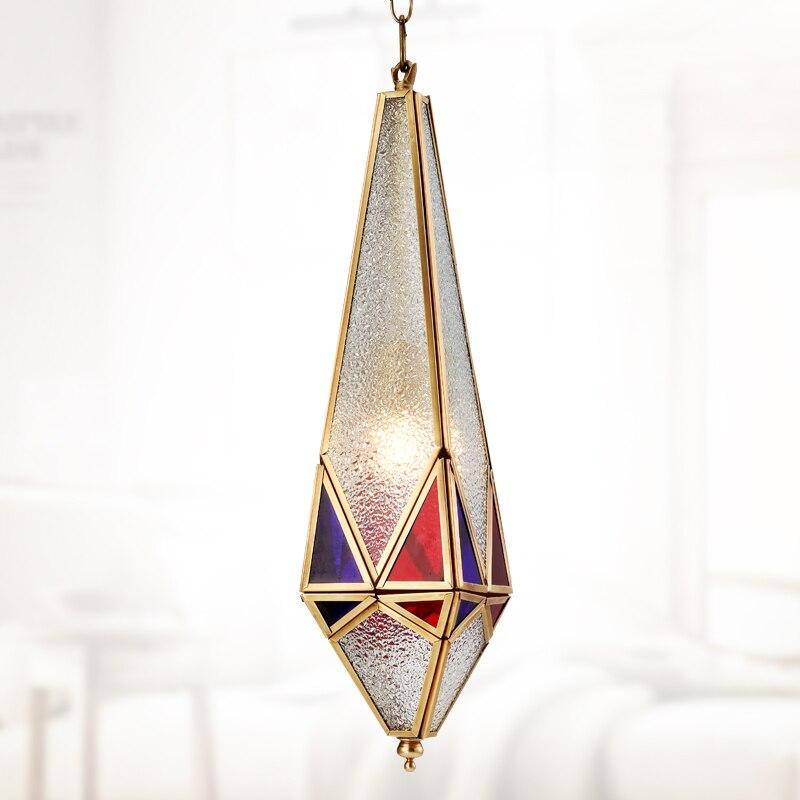 1 StÜck England Stil Kupfer + Glas Pendelleuchten Wohnzimmer Schlafzimmer Studie Kreative Mode Kristall Diamanten Retro Anhänger Lampen Za Eine GroßE Auswahl An Farben Und Designs