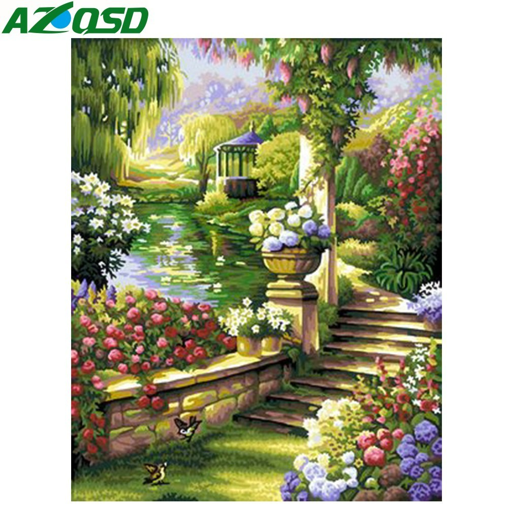 AZQSD Beautiful Green Garden Painting By Numbers On Canvas 40x50cm Oil Painting Picture By Numbers Home Decor Szyh6101