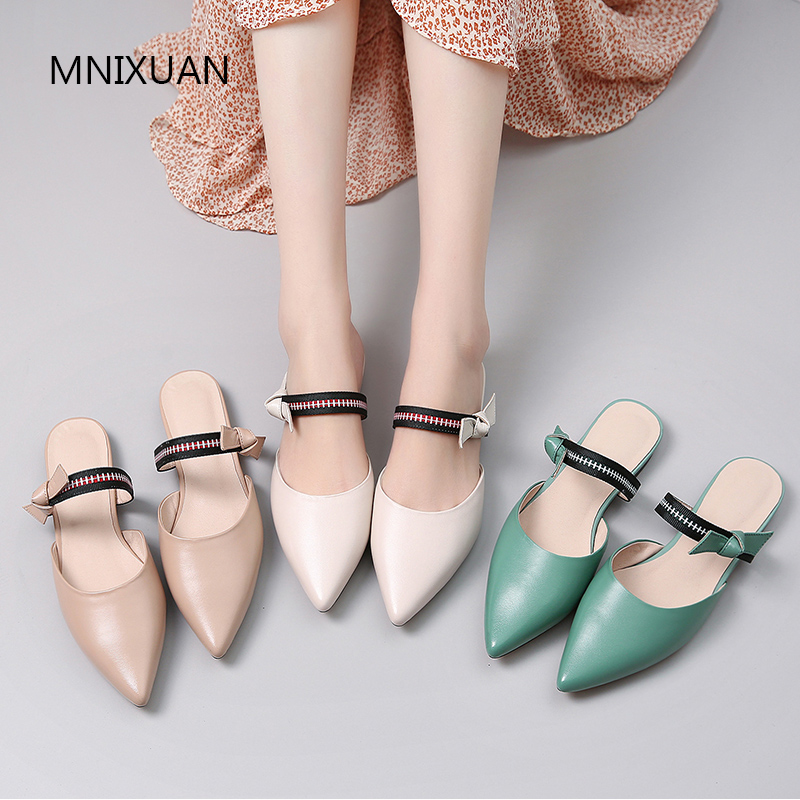 MNIXUAN Comfortable women leather casual shoes flats pointed toe mules shoes 2019 new sheepskin slip on solid ladies slippersMNIXUAN Comfortable women leather casual shoes flats pointed toe mules shoes 2019 new sheepskin slip on solid ladies slippers