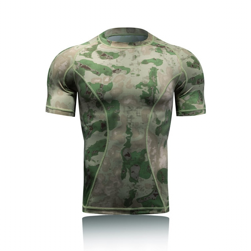 Military Tactical Shirt Short Sleeve Combat T Shirts Men Camo Quick Dry Base Layer Outdoor Sport Hiking Hunting Army Shirt image