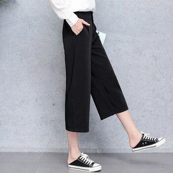 цена на Casual Pants High Waist Autumn Belted Straight Leg Slacks Office Lady Suit Pants Women Trousers Elasticated waist wide leg pants