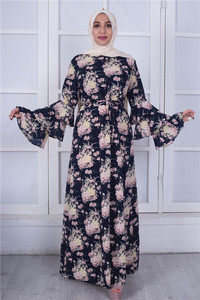 Fashion Abayas for Women Dubai Turkish Islamic Clothing 3 Layer Flare Sleeve Printed Flower Plus Size XXL Marokkaanse Kaftan