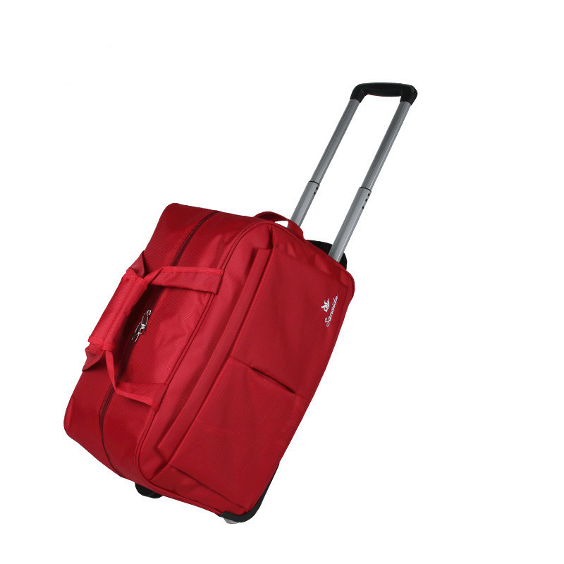 New Fashion Travel Bag On Wheels Suitcase Trolley Solid Nylon Waterproof Men Women Rolling Travel Luggage Case With Drawbars 22