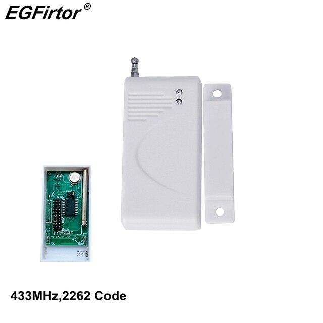 433 mhz 2262 코드 무선 창 문 센서 자기 접촉 나무 문 경보 탐지기 무선 gsm 홈 알람 패널