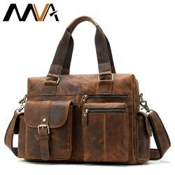 MVA из натуральной кожи Для Мужчин's портфель, плечевая сумка Для мужчин ноутбука сумки на плечо для мужчин мужской большой Портфели