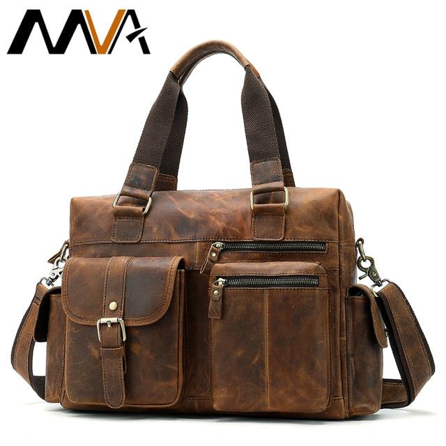 MVA Genuine Leather Men's Briefcase Messenger Bag Men Laptop Shoulder Bags For men Male Large Briefcase Travel Duffle Bags 8537
