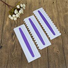 Pastry Icing Comb Set Plastic Cake Scraper Textures Fondant Spatulas Baking Mold Cake Decorating Tools Purple 1PC(China)
