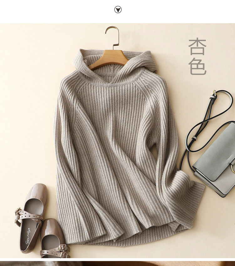 100% Pure Cashmere Hooded Sweater Women Pullover Autumn Winter Knitwear Ladies Thick Warm Loose Womens Jumpers 18 4