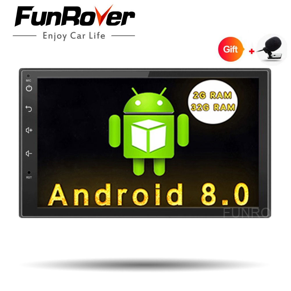Funrover Android 8.0 Quad Core Car dvd GPS Player 2 din radio universal Navigation Wifi mulitimedia rds usb navi FM 110mm depth funrover 9 hd quad core ram 2g android 8 0 car navigation gps player for suzuki sx4 2006 2013 wifi rds radio bt fm usb no dvd