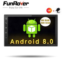 Funrover Android 8.0 Quad Core Car dvd GPS Player 2 din radio universal Navigation Wifi mulitimedia rds usb navi FM 110mm depth