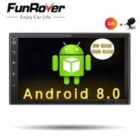 Funrover Android 8.0 Quad Core Car dvd GPS Player 2 din radio universal Navigation Wifi mulitimedia rds usb navi FM 110mm depth