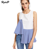Hzirip Summer Women Tees Top Irregular Blue Striped Cloth Patchwork Sleeveless T Shirts Casual Fashion Lady Strapless Solid Tops