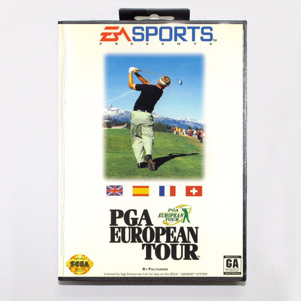 PGA European Tour Game Cartridge 16 bit MD Game Card With Retail Box For Sega Mega Drive For Genesis