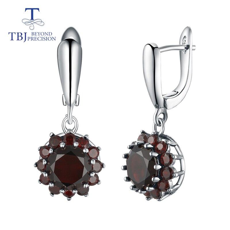 TBJ natural gemstone black garnet earrings 925 sterling silver fine jewelry simple floret design for woman