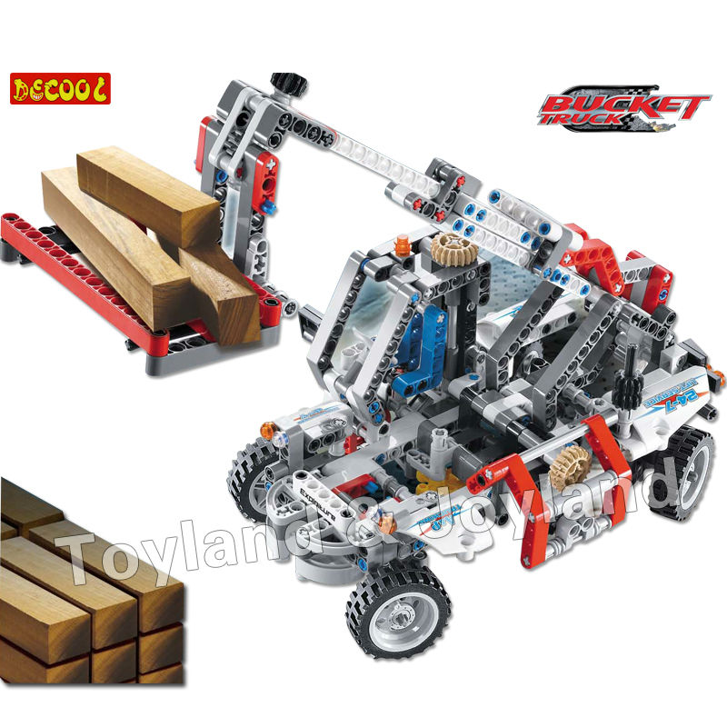 Фотография Decool 3346 Bucket Truck Car 480pcs Car Model Building Block Sets Educational DIY Bricks Toys