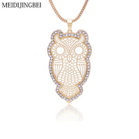 MEIDIJINGBEI Retro Gold Necklace For Women Fashion Crystal Owl Necklace Love Design Siver Pendant Chain Snake