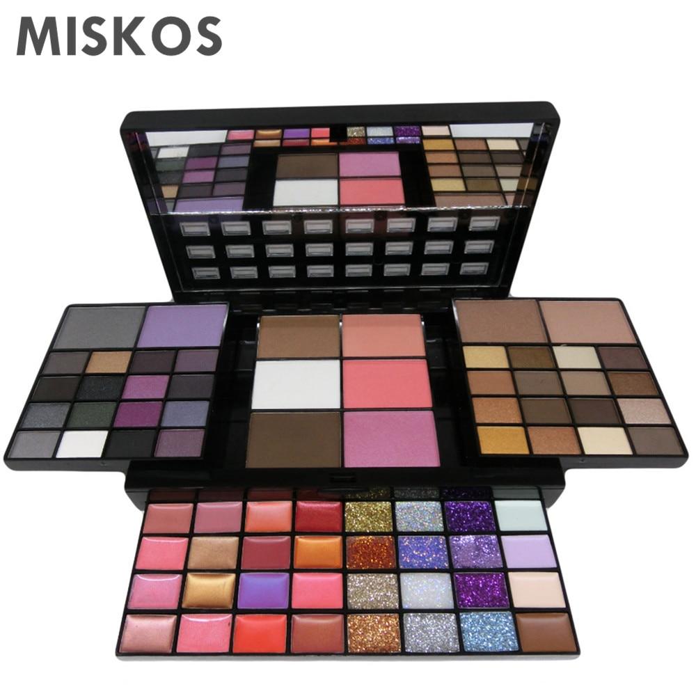 MISKOS Conjuntos De Maquiagem 74 Cores Makeup Set Combinação Kit Maquiagem sombra de olho Batom glitter Sombras Contorno pigmento Kit Maquiagem makeup conjunto maquiagem profissional completa cosméticos