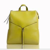 2015 White Leather Backpack Women Cowhide Leather Cool Backpacks Designer Brand Ladies Office Bag Cute School