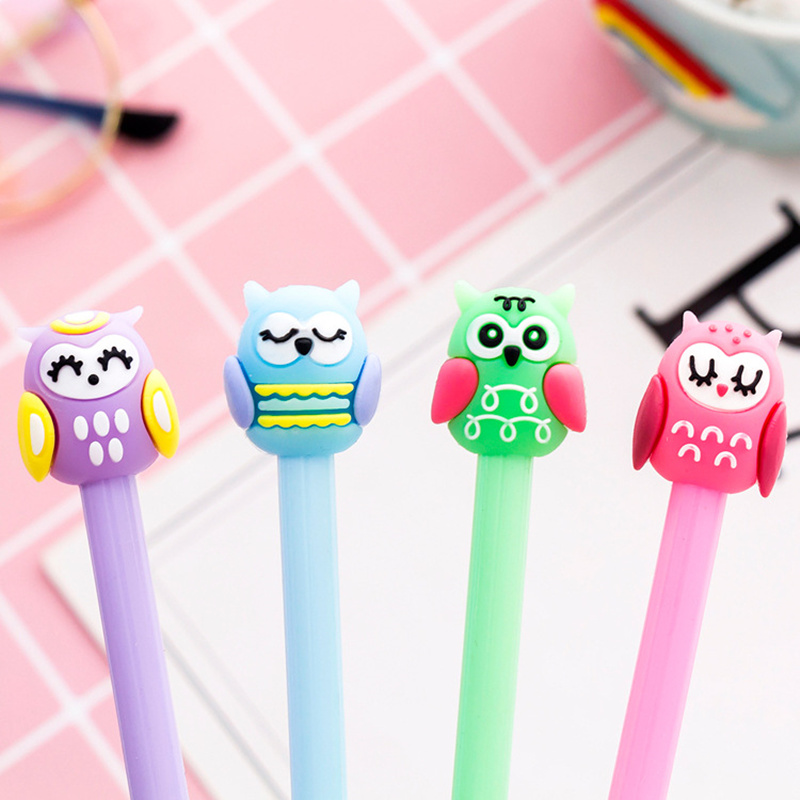 4pcs Cartoon Color Owl Pen 0.5mm Black Ink Gel Pens Stationery Office Accessories School Student Supplies Material Escolar F491