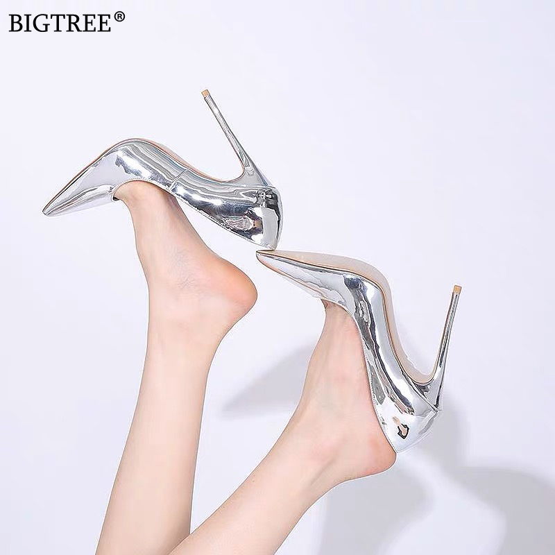 2019 Women Shoes Sexy High Heels Party Pumps Female Summer Heels Mirror Face Leather Silver Golden Ladies Shoe Zapatillas Mujer