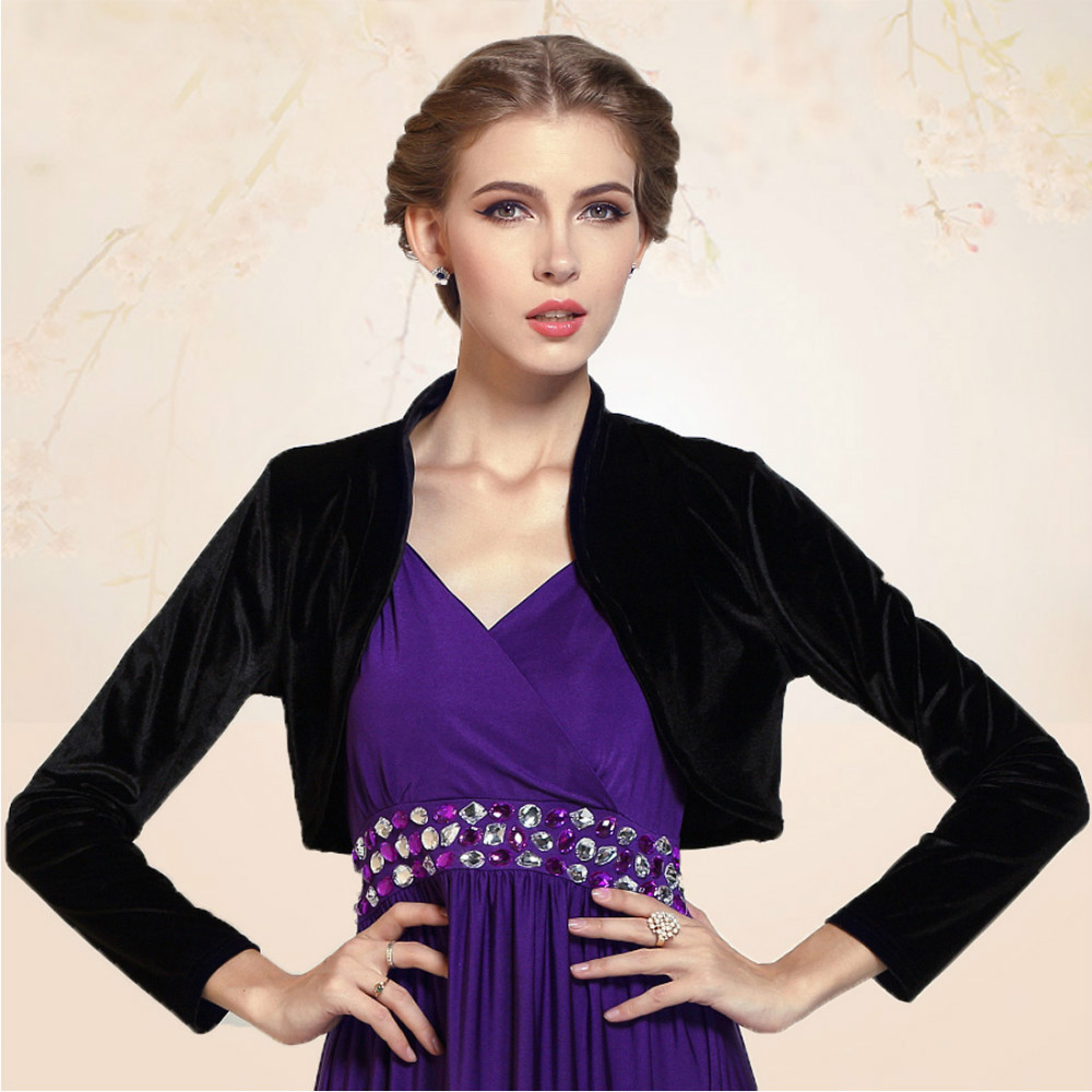 Ladies Cropped Velvet Long Sleeve Shrug Womens Bolero Jacket