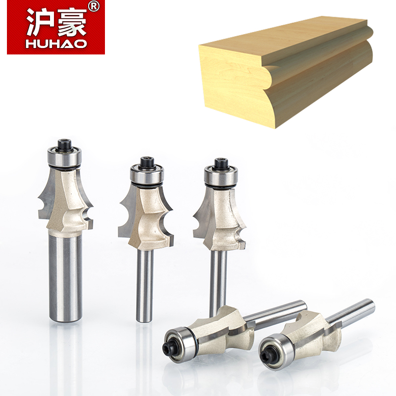 HUHAO 1pcs 1/2 1/4 Shank Drawing Line Router Bit for Wood With Bearing Woodworking Tools two Flute endmill milling cutter 1 2 shank router bit milling cutters for doors woodworking tool trimming flooring wood tools