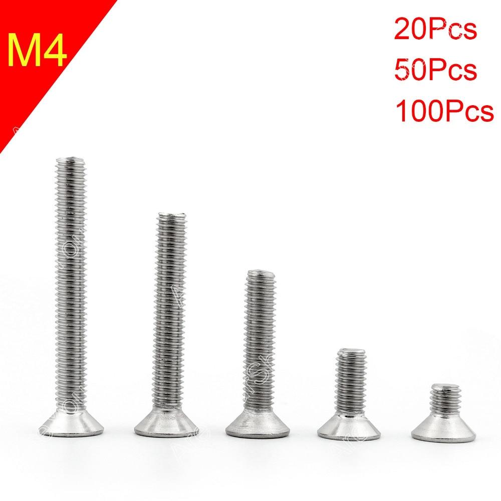 Areyourshop M4 6mm-50mm Screw Bolt 20Pcs/50Pcs/100Pcs 304 Stainless Steel Allen Hex Socket Countersu 20pcs m3 6 m3 x 6mm aluminum anodized hex socket button head screw