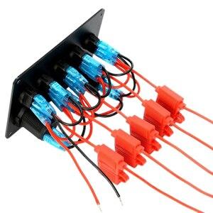 Image 3 - インラインヒューズボックス 5 ギャングブルー led ロッカースイッチパネル電圧計デュアル usb 充電ソケット 12 v 24 12v 車ヨット船カーボートマリン