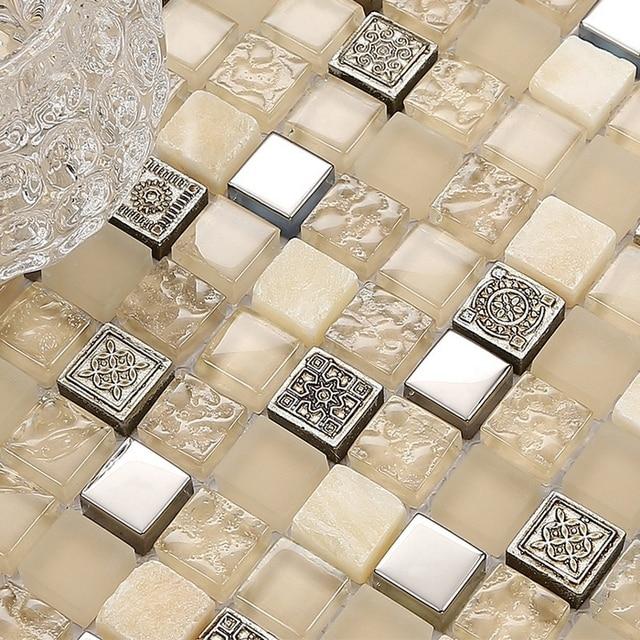 Vidrio de colores cálidos con mezcla de piedra azulejos de mosaico ...