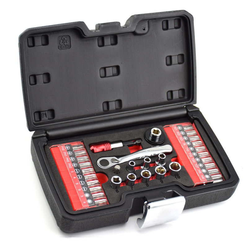 high quality  1/4 ratchet wrench set S2 material bits 32pcs Mini  tools set screwdriver head  bike Repair  hand tool combination high quality screwdriver combination set unique telescopic function