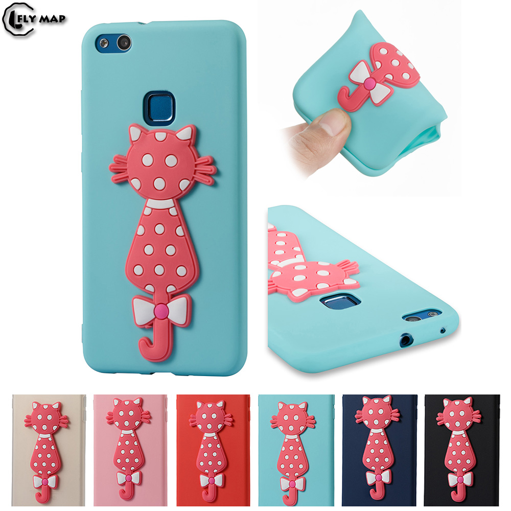 Cute Cat Case for Huawei P10 Lite WAS-LX1 P10Lite TPU Soft Silicone phone Cover Shell fo ...