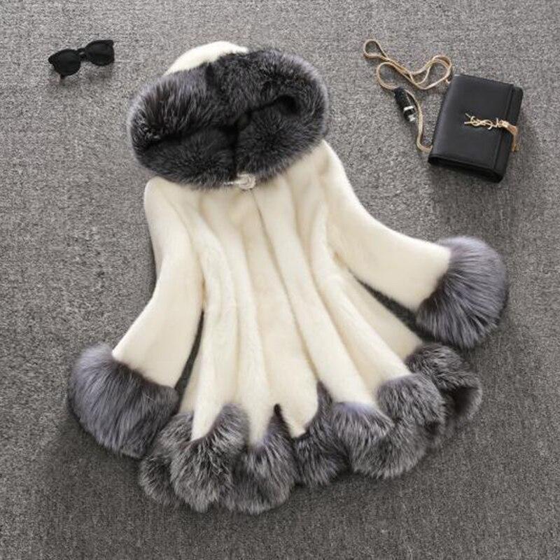 Surdimensionné Plus Fluffy Femme ivoire À Chaude Épaisse De Capuchon 3xl Manteau Fourrure Fausse Luxe La Renard Dames Noir Veste Taille Longue T7XqqwPn
