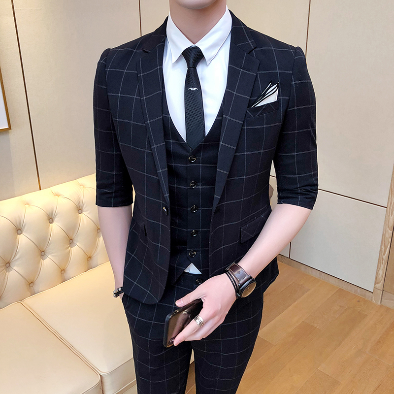 (Front + pants + vest) new gentleman British Korean lattice groom married five points sleeve suit host suit