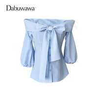 Dabuwawa Sky Blue Spring Autumn Half Sleeve Casual Bow Blouse Off Shoulder Sexy Women Blouses