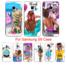 For SAMSUNG S6 Black Brown Hair Baby Mom Girl Queen Coque Shell Phone Case for S8 S8plus s9 s9plus s7 s7egde s6 s5 s4