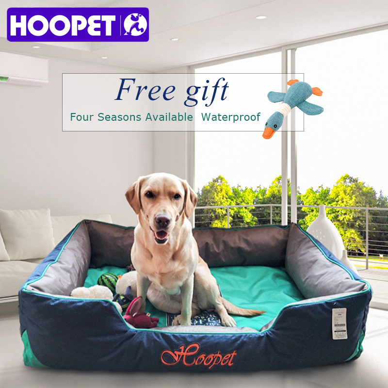 HOOPET Pet Cute Print Cartoon Bed Warming Dog House Soft Waterproof Nylon Material Sofa All Seasons