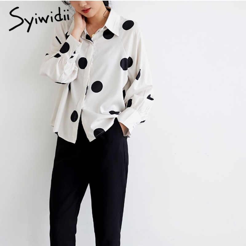Chấm bi nữ áo và áo sơ mi Nữ Công Sở Voan Ý 2 lớp vintage trễ vai Plus kích thước Hàn Quốc thời trang