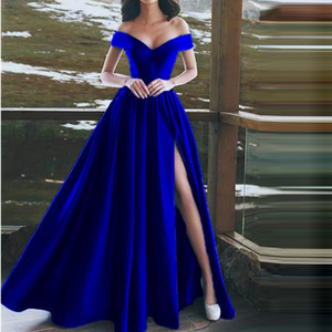 Image 2 - Elegant Evening Dresses Sweetheart Satin Boat Neck Evening Gowns Long Party Gowns Side Split Robe De Soiree Sexy Formal Dresses