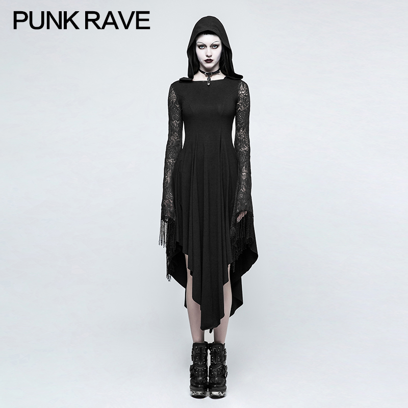 New Punk Rave  rock fashion women long sleeve Visual kei Goth Dress With Back Spider Net Q328