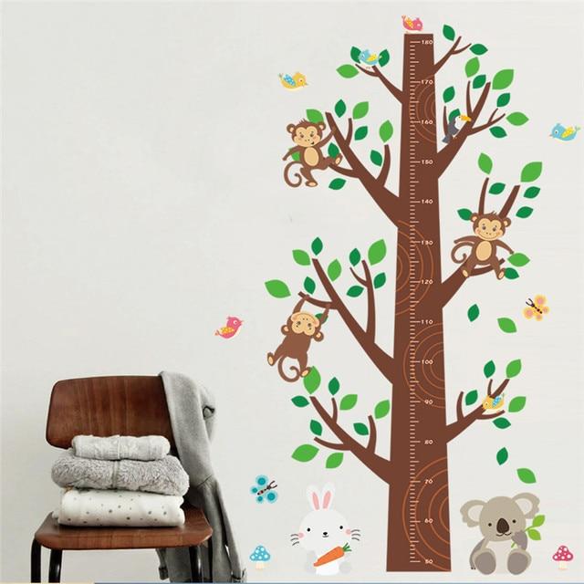 Animals Monkey Koala Rabbit Tree Height Measure Wall Sticker Kids Children  Bedroom Wall Decal Art Home Decor 3d Poster Mural 786ec04a11c7