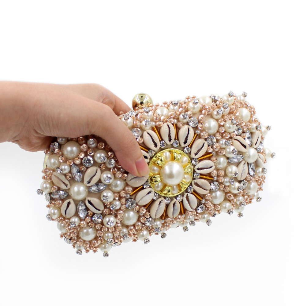 Luxury Women Beading Evening Bag Floral Diamond Bridal Wedding Party Hand Bags Chain Clutch Mini Dinner Purse Bolso SMYZH-F0268  luxury gold silver evening purse women pink pu leather pearl hand bag chain shoulder clutch bags handbag bolso handtassen xa841h