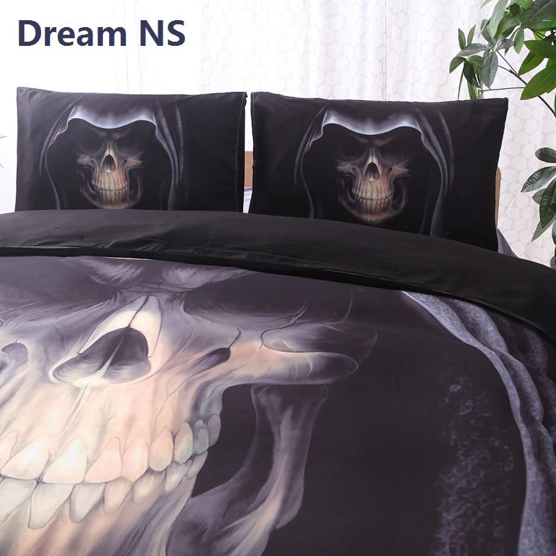 AHSNME 頭蓋骨寝具セットスケルトン帽子ジョーゴ · デ · Cama 王女王シングルサイズ大人ベッドセットホラー黒寝具  グループ上の ホーム&ガーデン からの 寝具セット の中 2