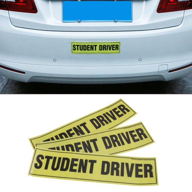 3pc removable magnetic student driver reflective vinyl decal funny bumper stickers magnetic vehicle car sign sticker