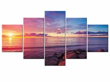 5 Pieces Modern Sunset Beach Wall Art Canvas Prints Ocean Waves On Home Decoration For Living Room Framed J009-049